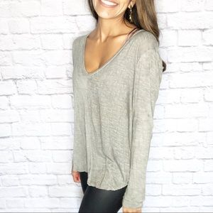 Lush Brand Grey Long Sleeve Loose Fit Top Size S